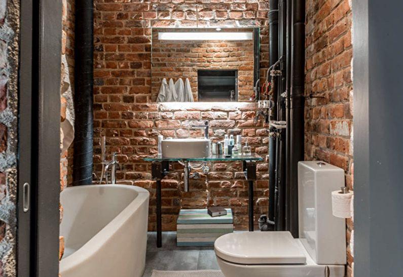 Дизайн маленькой ванной комнаты в стиле лофт