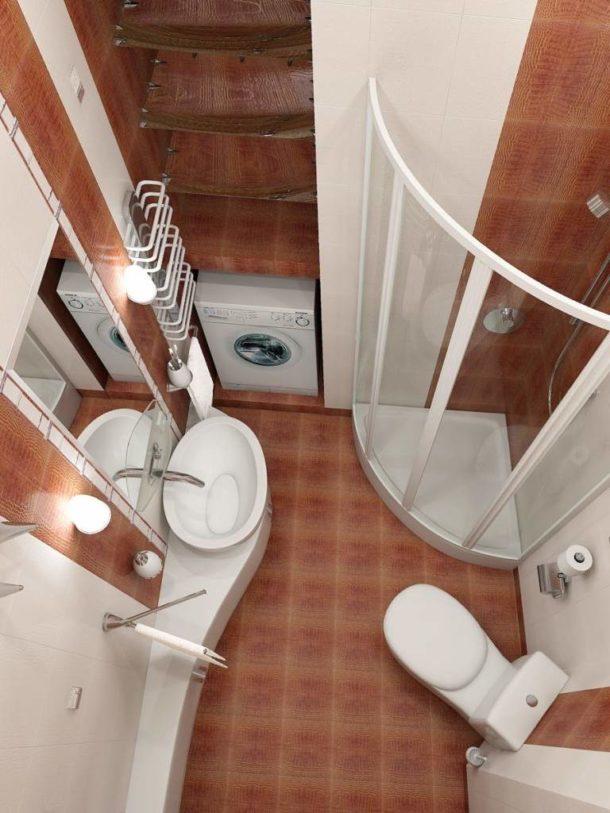 Стеллаж над стиральной машинкой в маленькой ванной