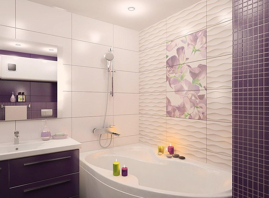 Фиолетовая ванная без унитаза