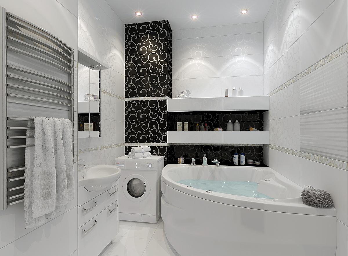 Ванная без унитаза с узором на плитке
