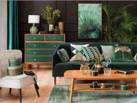 Бутылочно-зеленый в гостиной — идеи оформления