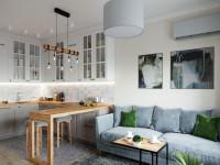 Гостиная с кухней в современном стиле:  идеи дизайна кухни-столовой