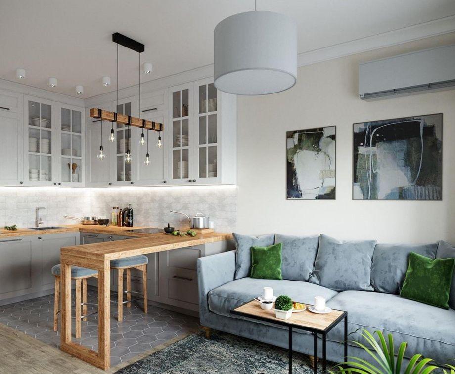 Совмещенная кухня гостиная: примеры интерьера