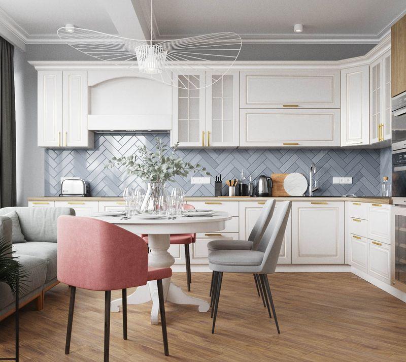 Цвет стен на кухне с белым гарнитуром