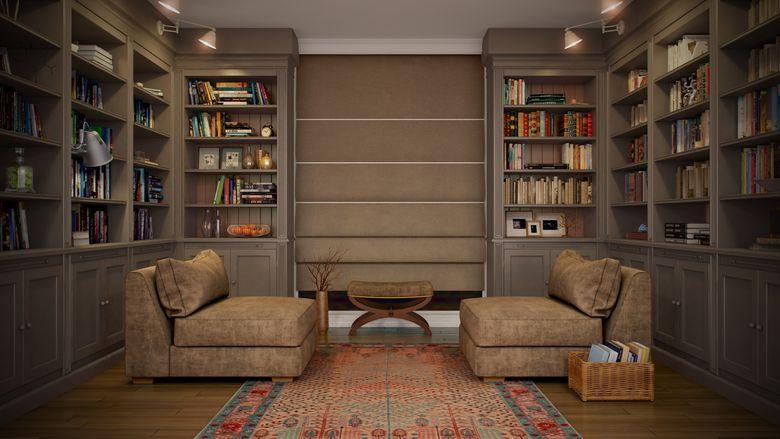 Угловые книжные шкафы для домашней библиотеки